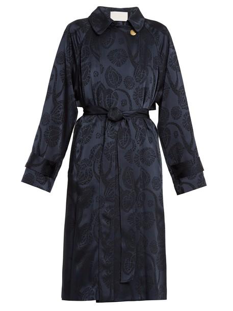 Peter Pilotto coat trench coat jacquard satin navy print