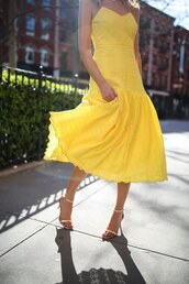 memorandum,blogger,dress,shoes,bag,jewels,sunglasses,sandals,high heel sandals,yellow dress,midi dress,spring dress
