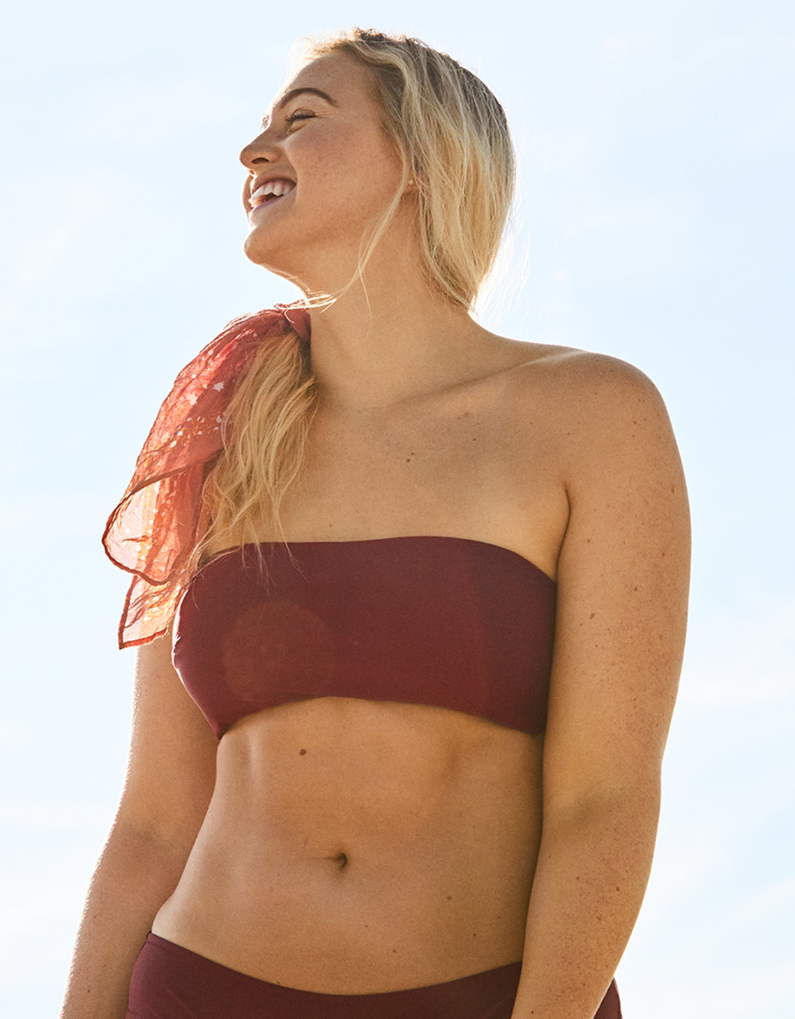 Aerie Bandeau Bikini Top , Rose