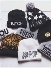 hat,beanie,black,stars,pom pom beanie