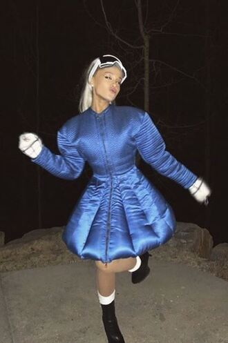 jacket ariana grande instagram winter outfits winter jacket blue goggles sunglasses