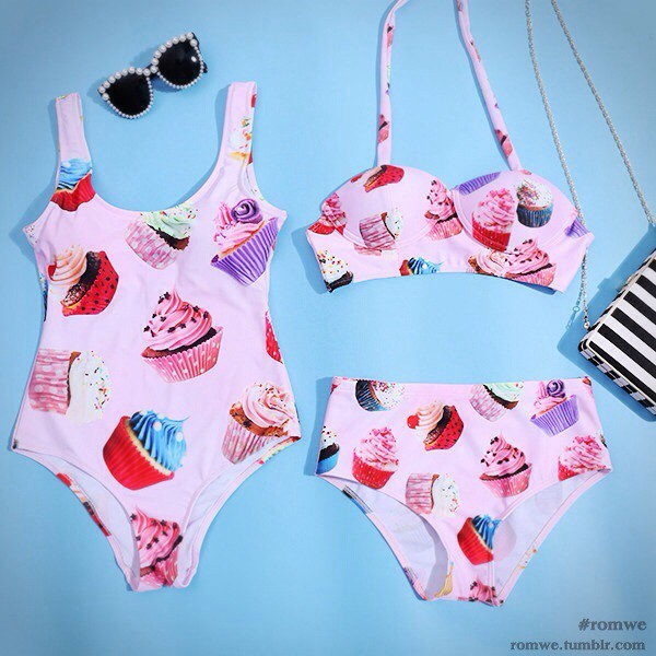 swimwear cupcake cupcake print kawaii food