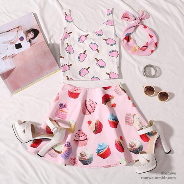 skirt cupcake hair accessory sunglasses socks shoes ice cream white