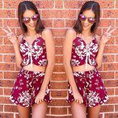shorts,maroon floral,burgundy,maroon set,floral,crop and shorts,crop and shorts set,matching set