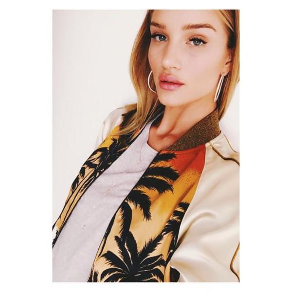 jacket girl girly girly wishlist model rosie huntington-whiteley bomber jacket satin bomber palm tree print
