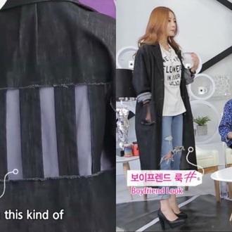 jacket denim black black denim denim jacket see through see through jacket long jacket oversized denim jacket