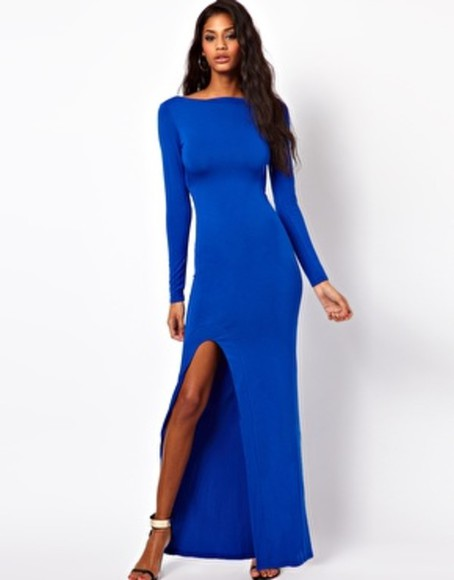 dress long sleeves blue dress asos full length split