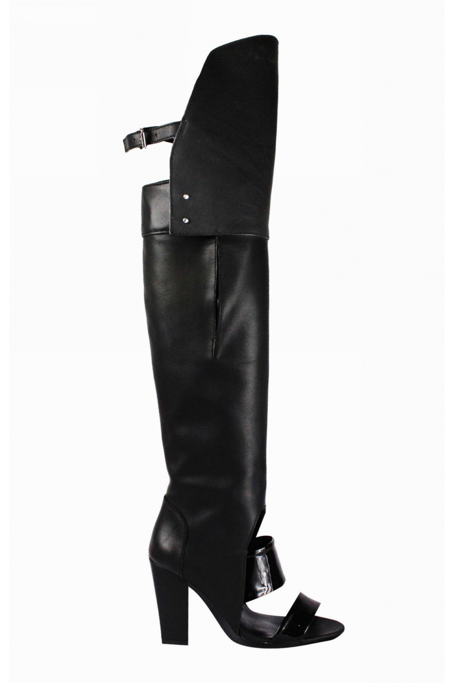 Exclusive - LIA Over The Knee Open Toe Boots |Black| In Shoes ...