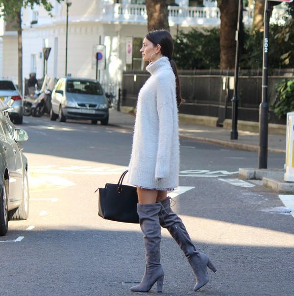 5f8f4cdb3b peexo blogger sweater dress shoes bag white knit dress
