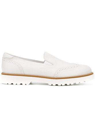 women chunky sole loafers leather white shoes