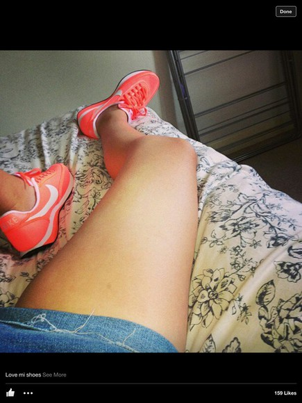 shoes orange shoes nike nike running running shoes nike sneakers sneakers neon pink shoes