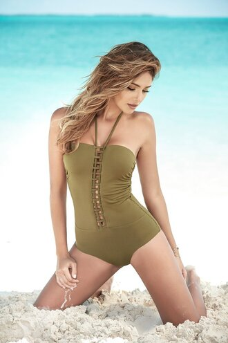 swimwear one piece olive one piece swimwear open details on the front adjustables straps mapalé one piece swimsuit moderate coverage lace up details adjustable top