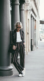 happily grey,blogger,tailoring,striped pants,stripes,striped jacket,tailor jacket,white sneakers,office outfits,work outfits,power suit,matching set,fall outfits,white top,necklace,black bag,printed blazer
