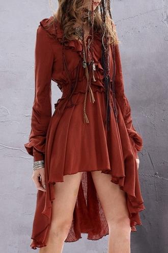 dress fall outfits fashion style asymmetrical ruffle gypsy boho