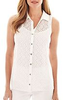Women Sleeveless Button Front Collared Shirt - ShopStyle