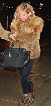 shoes,winter coat,fur,fur coat,sienna miller,pants