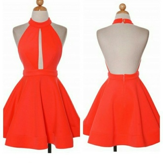 dress halter dress orange dress peek-a-boo dress fit and flare dress backless dress orange halter peek a boo