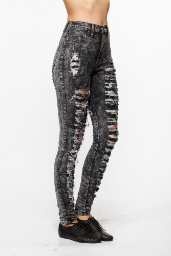 High Waist Acid Wash Distressed Skinny Jeans @ Cicihot Pants Online Store: sexy pants,sexy club wear,women's leather pants, hot pants,tight pants,sweat pants,white pants,black pants,baggy pants