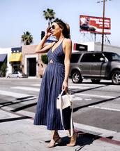 jumpsuit,sunglasses,tumblr,blue jumpsuit,cropped jumpsuit,stripes,striped jumpsuit,sandals,mid heel sandals,nude sandals,bag,white bag,spring outfits