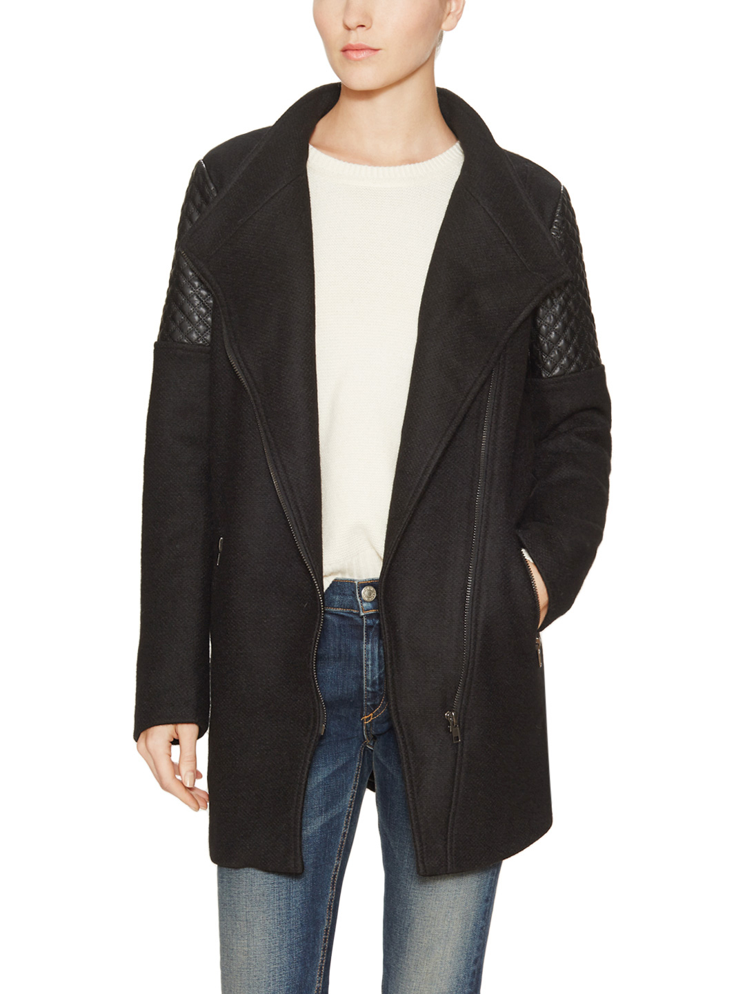Telly jacket with faux leather quilted panels by heartloom at gilt