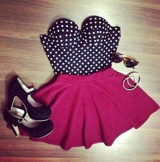 dress light red skirt black dress oxblood blouse skirt heart lovely pink black white tank top poka dots shoes short style pretty flowy top crop tops polka dots bustier strapless pink skirt brown sunglasses sunglasses jewelry high heels clothes