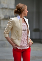 jacket,red pants,cute top,outfit,beige jacket,classy,beige,coat