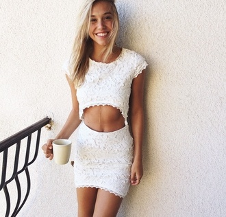 dress white dress crop tops white lace summer fashion outfit cut-out fashion inspo