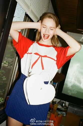 t-shirt bow top stripes skirt