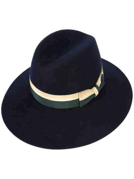 Maison Michel bow women hat fedora blue wool