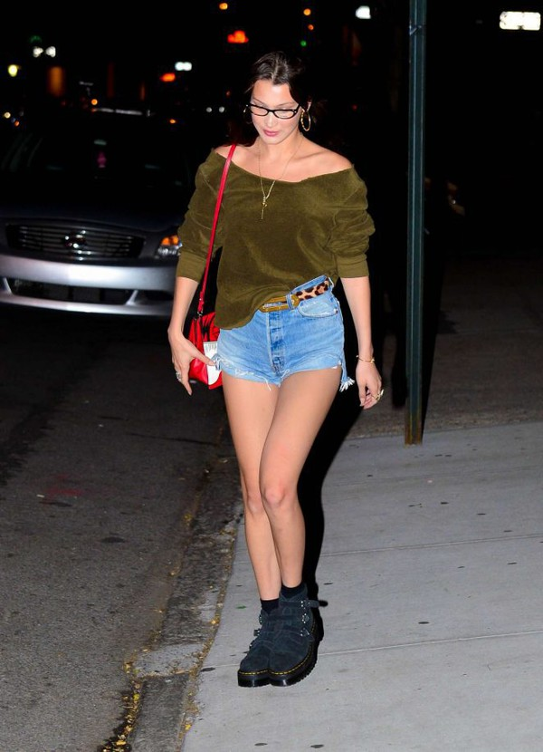 bag shorts denim shorts blouse top model off-duty streetstyle bella hadid casual