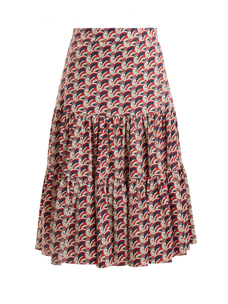 skirt cotton print red