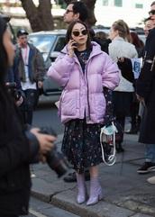 jacket,puffer jacket,lilac,lilac jacket,dress,floral dress,boots,lilac boots,mini dress,ankle boots