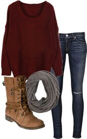 sweater,dark jeans,grey,red,ripped jeans,infinity scarf,oversized sweater,combat boots,scarf,shoes,jeans