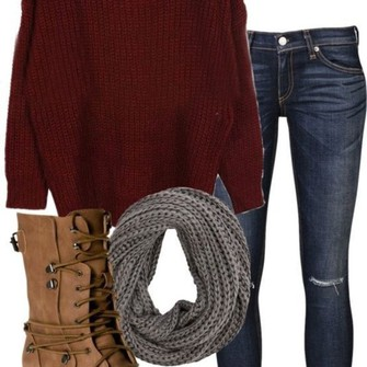 sweater grey shoes jeans infinity scarves combat boots ripped jeans dark jeans big sweater scarf red