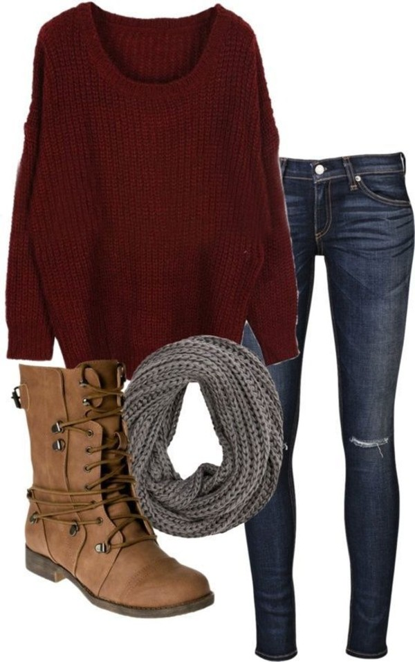 sweater dark jeans grey red ripped jeans infinity scarf oversized sweater combat boots scarf shoes jeans