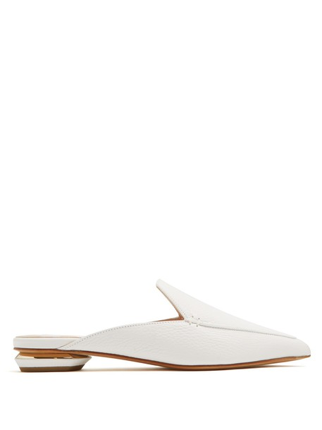 Nicholas Kirkwood backless loafers leather white shoes