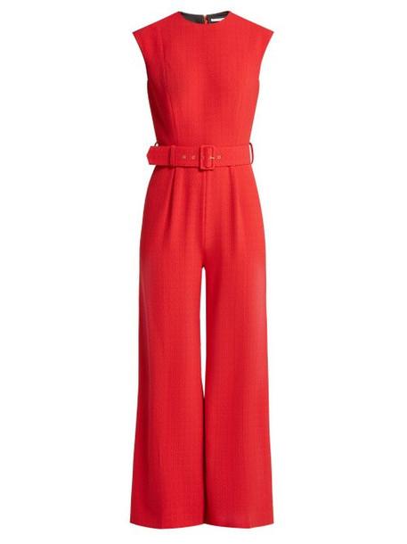 Emilia Wickstead - Barbara Sleeveless Cloqué Jumpsuit - Womens - Red
