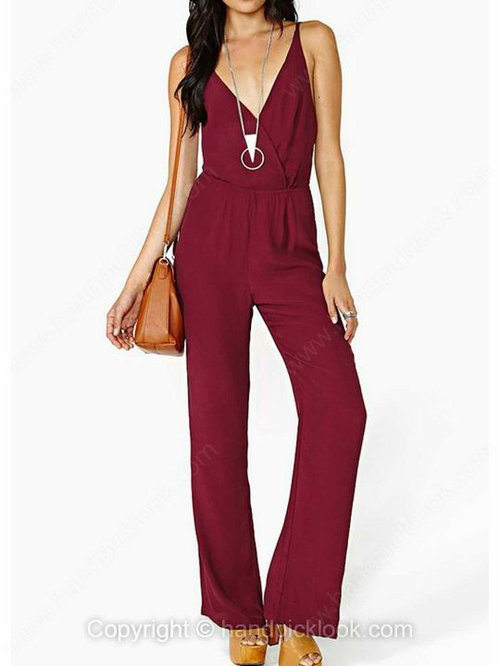 Burgundy V-neck Sleeveless Sexy Jumpsuit - HandpickLook.com