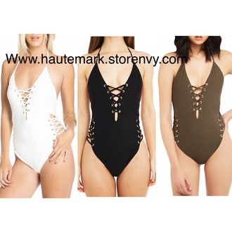 swimwear black swimwear studded bodysuit olive green white swimwear one piece swimsuit cut-out swimsuit caged swimsuit lace bodysuit