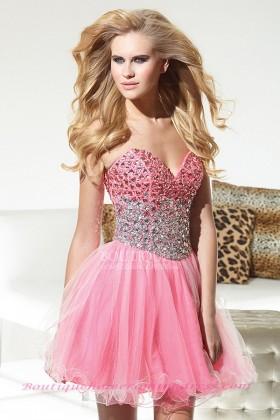 Princess sweetheart rhinestone bodice short/mini tulle pink dropped homecoming dress