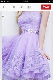 dress,lavender lace dress,lavender prom dresses,lavender dress,lace dress,50s style,tulle skirt,rhinestones