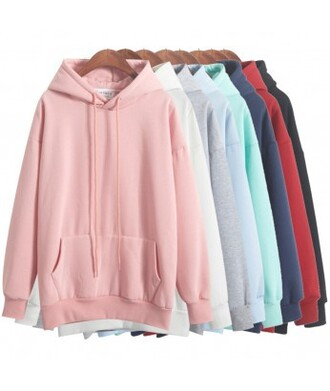 sweater hoodie pastel pink white baby blue baby pink mint red blue black it girl shop