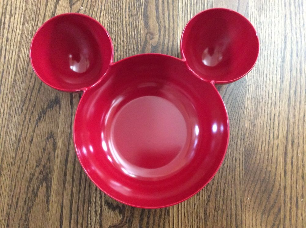 MICKEY MOUSE SERVING BOWL CHIP DIP RED PLASTIC LARGE EARS ZAK MELAMINE FREE SHIP