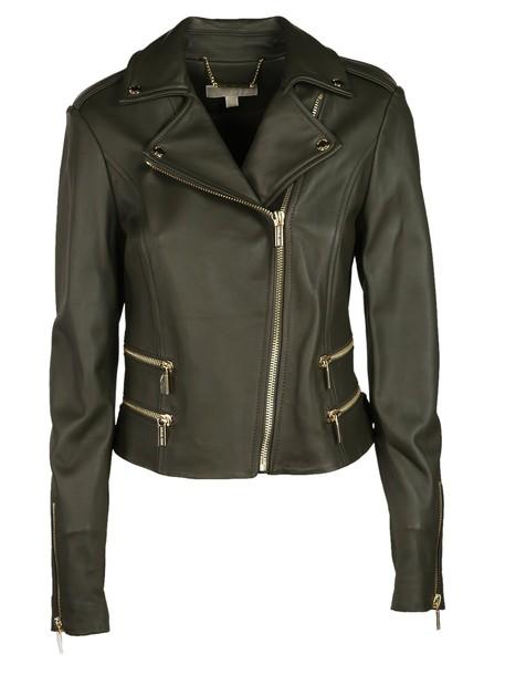Michael Kors jacket biker jacket classic green
