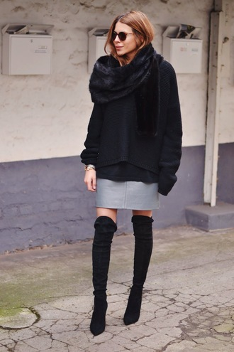 maja wyh blogger grey skirt oversized sweater black sweater thigh high boots winter outfits shoes