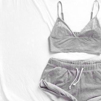 shorts tank top crop tops bralette sweatpants sweat shorts cotton sportswear sportswear grey sweatpants comfy outfits comfy shorts comfy