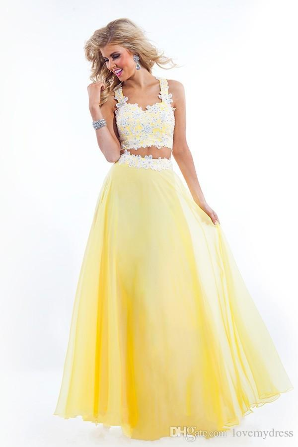 Carpet Dress Customize Chiffon Gown Yellow Two Pieces Prom Dresses