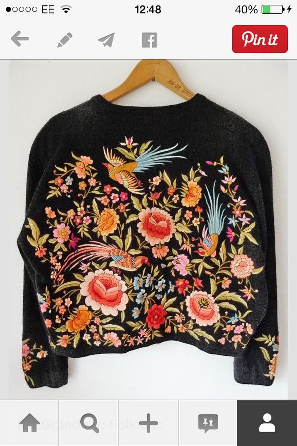 top embroidered jumper floral vintage
