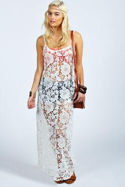 Hatty crochet maxi cover up dress at boohoo.com