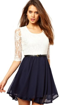 Amazon.com: Sheinside White Half Sleeve Lace Contrast Navy Chiffon Belt Dress: Clothing